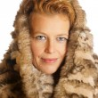 Blond caucasian woman with ecologic fur hood — Stock Photo #68554107