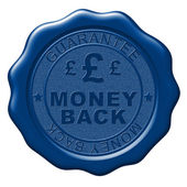 Illustration of Money Back wax seal on white background — Stock Photo