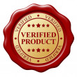 Red wax seal with text Verified subject on white background — Stock Photo #59162609