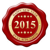 Red wax seal with text Happy New Year on white background — Stock Photo