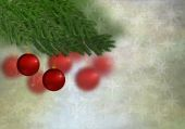 Red christmas ornament and christmastree — Stock Photo