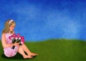 Tulips and girl in springlandscape — Photo