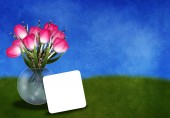 Greetingcard with tulips — Stock Photo