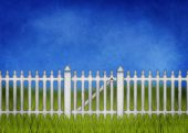 White garden fence and gate — Stock Photo