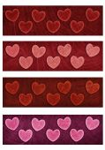 Valentine heart four banners — Stock Photo