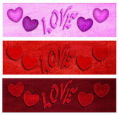Banners for Valentine 3 st — Stock Photo