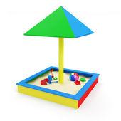 детская песочница с игрушками — Стоковое фото