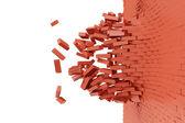 Demolished Red Brick Wall — Stock Photo