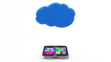 Touchscreen Smartphone Synchronize with Cloud — Stok video