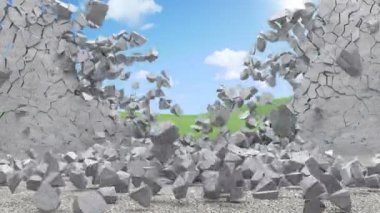 Animation of Broken Concrete Wall — Stock Video