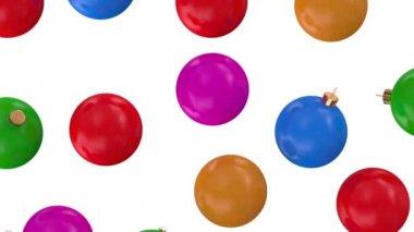 Falling Colorful Christmas Balls — Stock Video