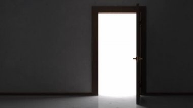 Door Opening in Empty Room Interior — Vídeo de stock