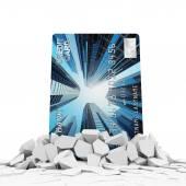 Credit Card Breaking Through Concrete — Stock Photo