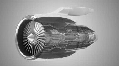 Airplane Jet Engine Turbine — Stock Video