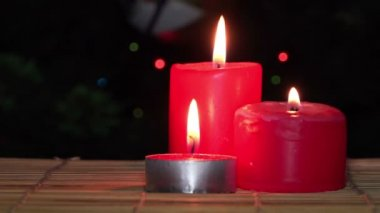 Red Christmas Candles — Stock Video