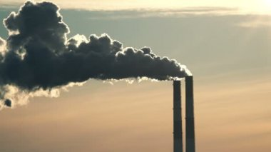 Chimneys of Power Plant at Sunset. — Stock Video