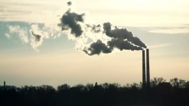 Chimneys in Power Plant — Wideo stockowe