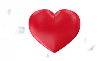 Frozen Red Heart Broken into Pieces — Stock Video