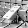 Stack of Silver Bars in Bank Vault — Stock Photo #66715947
