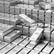 Stack of Silver Bars in Bank Vault — Stock Photo #66716149