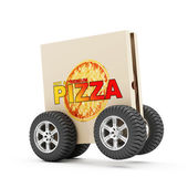 Pizza Box  on Wheels — Stock Photo