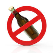 Red Forbidden Symbol with Bottle of Beer — Stock Photo