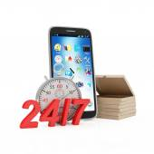 Pizza Boxes with Smart Phone and 24-7 Sign — Stock Photo