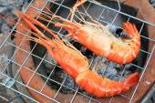 Shrimp on the grill — Stock Photo