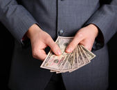 Money in your pocket. money in hands — Stock Photo