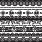 Pattern black and white, geometrical elements set — Cтоковый вектор