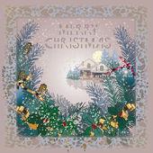 Winter landscape, Christmas card — Stock Vector