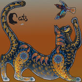 Decorative graphic image, a cat playing with a bird — Stockvektor