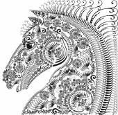 Decoration animal ornament, horses head — Stock Vector