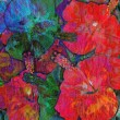 Floral abstract motley background, hibiscus, tropical motif — Stock Photo #70383257