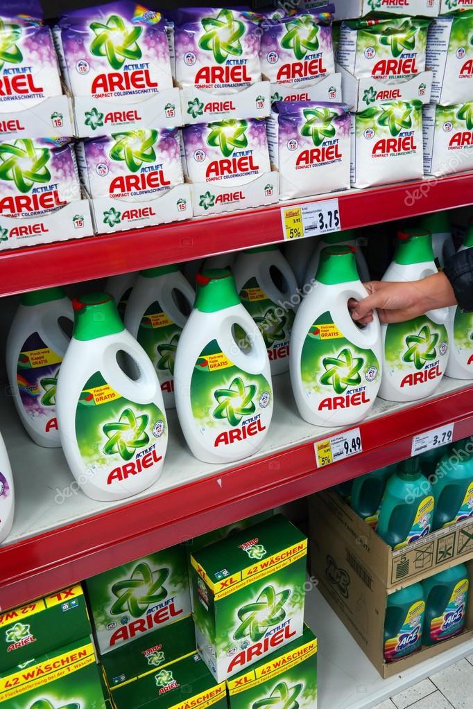 Resultado de imagem para detergente na prateleira ariel