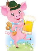 Roztomilý tanec Prasátko je drží pivní sklo a preclíky — Stock vektor