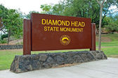 Diamond Head State Monument Park Sign close Honolulu on Oahu Haw — Stock Photo