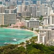 Aerial view of Honolulu and Waikiki beach from Diamond Head — Stock Photo