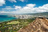 Aerial view of Honolulu and Waikiki beach from Diamond Head — Stock Photo