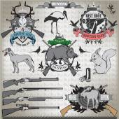 Hunting set of elements and animals. Vector. — Stock Vector