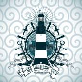 Label with a picture of the lighthouse, anchors and steering wheel. Nautical theme. — Stockvector