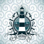 Label with a picture of the lighthouse, anchors and steering wheel. Nautical theme. — Stock Vector