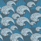 Seamless pattern with sea waves. — Stock Vector