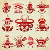 Big set of vintage labels barbecue party — Stock Vector