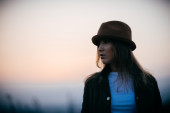 Girl with a hat — Stock Photo