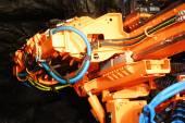 Heavy mine driller machine in a gold mine — Stock Photo