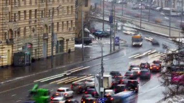 Traffic jam in Moscow, Russia — Stock video