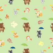 Pattern with forest animals. — Stock Vector