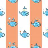 Pattern with teapots. — Stock Vector