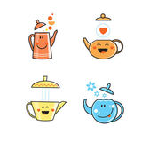 Set with teapots. — Stock Vector